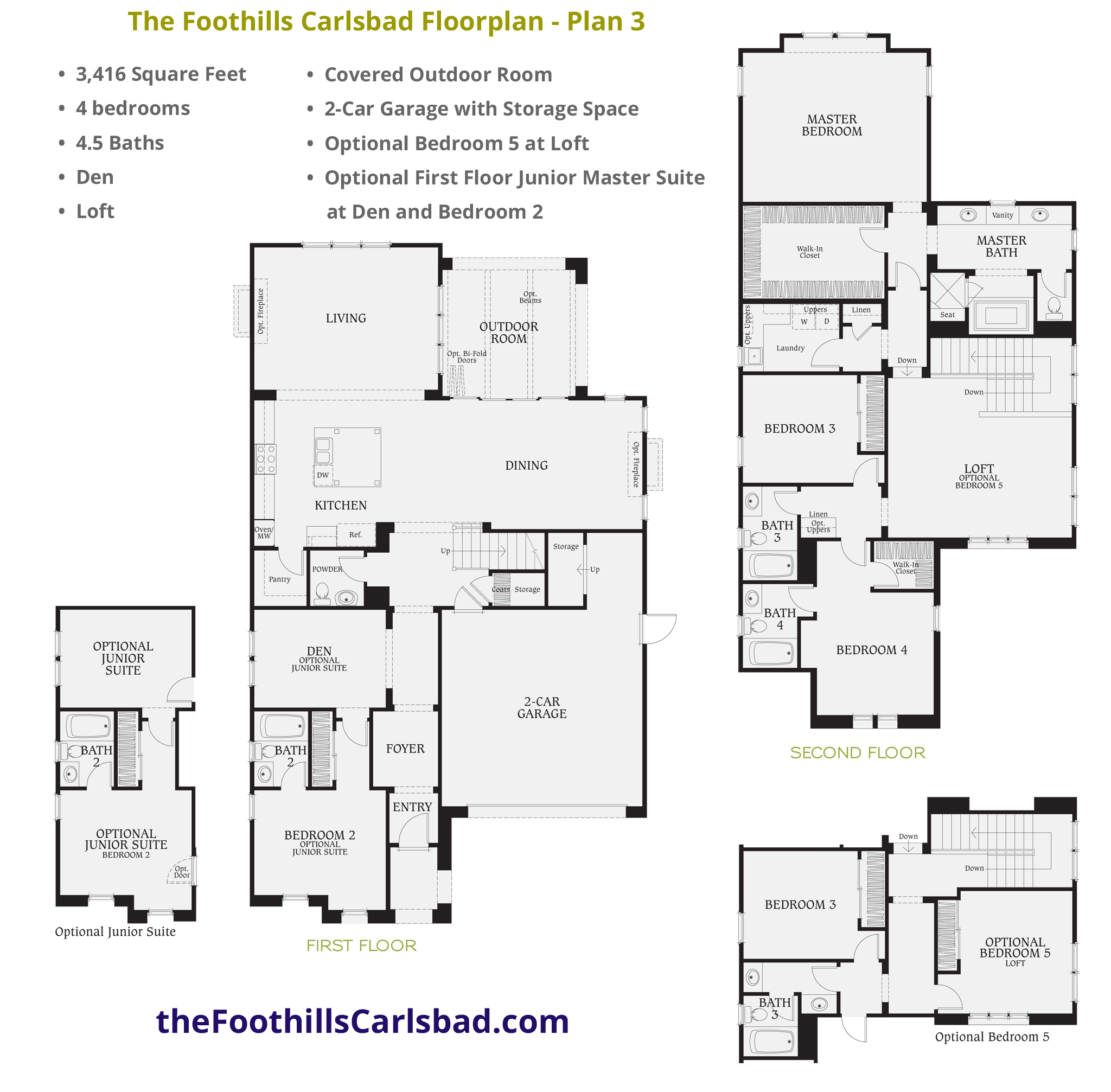 plan 3 4 bed 45 bath 3416 square feet - Brookfield Homes Floor Plans
